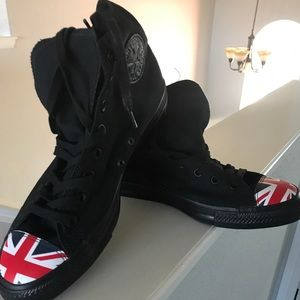 Men's New Black Converse Chuck Taylor-UK Flag
